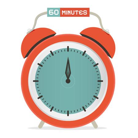 sixty: Sixty Minutes Stop Watch - Alarm Clock Vector Illustration