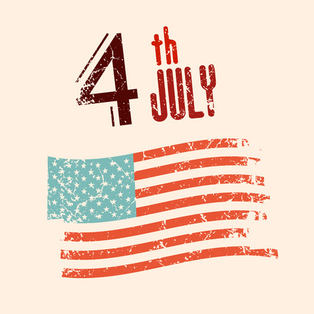 4 th July Vector Illustration with Grunge American Flag 向量圖像
