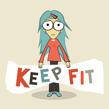 fit: Mantenga Ilustraci�n Fit Chica vectorial Vectores