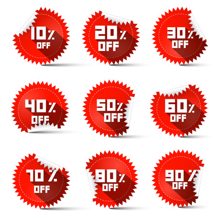 ninety: Ten to Ninety Percent Off Red Labels Illustration