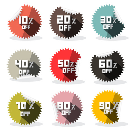 thirty percent off: Vector Sale Retro Stickers - Labels Illustration