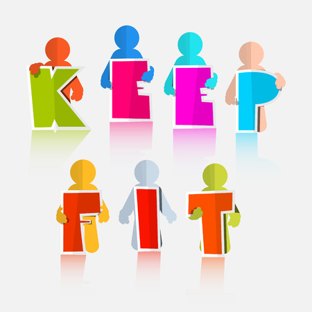 keep fit: Keep Fit Vector Colorful Paper Slogan - Title