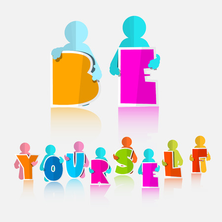 slogan: Be Yourself Vector Slogan - Title Illustration
