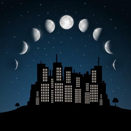 밤 도시 벡터 위의 달의 위상