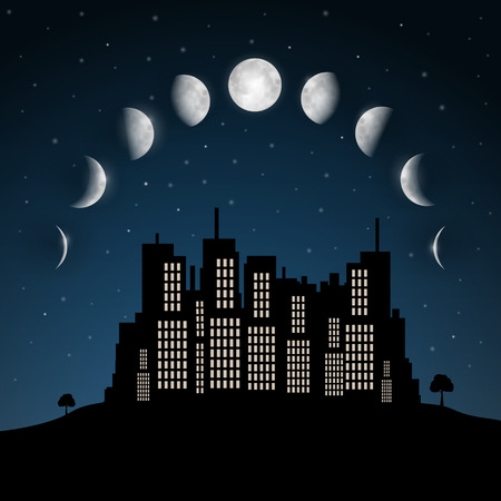 orbiting: Moon Phases above Night City Vector Illustration