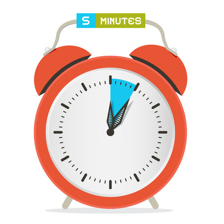 5 - Five Minutes Stop Watch - Alarm Clock Vector Illustration