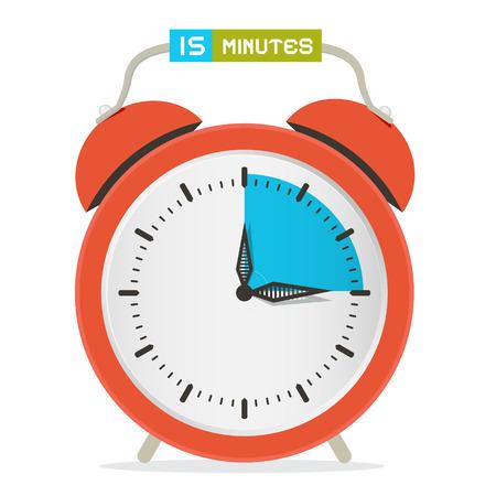 fifteen: 15 - Fifteen Minutes Stop Watch - Alarm Clock Vector Illustration