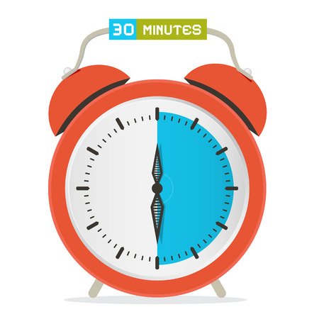 30 - Thirty Minutes Stop Watch - Alarm Clock Vector Illustration Ilustrace