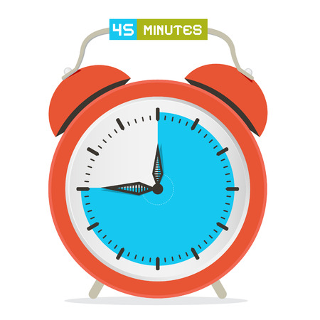 forty: 45 - Forty Five Minutes Stop Watch - Alarm Clock Vector Illustration Illustration