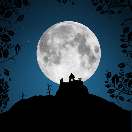 penumbra: Full Moon Vector Illustration with Castle and Trees Illustration