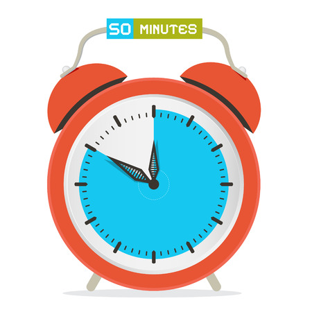 fifty: 50 - Fifty Minutes Stop Watch - Alarm Clock Vector Illustration