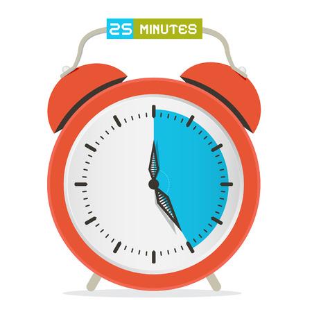 25 - Twenty Five Minutes Stop Watch - Alarm Clock Vector Illustration