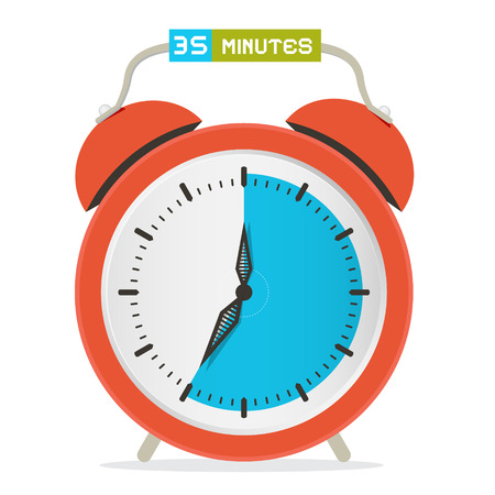 thirty: 35 - Thirty Five Minutes Stop Watch - Alarm Clock Vector Illustration Illustration