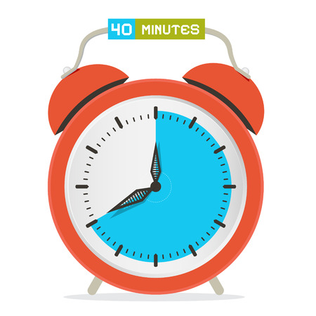 40 - Forty Minutes Stop Watch - Alarm Clock Vector Illustration Vector