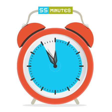 fifty: 55 - Fifty Five Minutes Stop Watch - Alarm Clock Vector Illustration