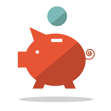 wealth: Flat Design Pig Bank with Coin Illustration Illustration