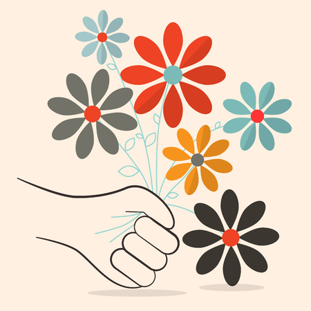 thanks giving: Flat Design Retro Flowers in Hand