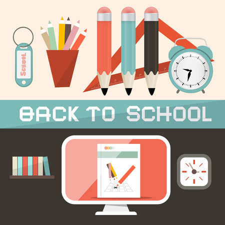 comp: Back to School Illustration in Retro Flat Design Style