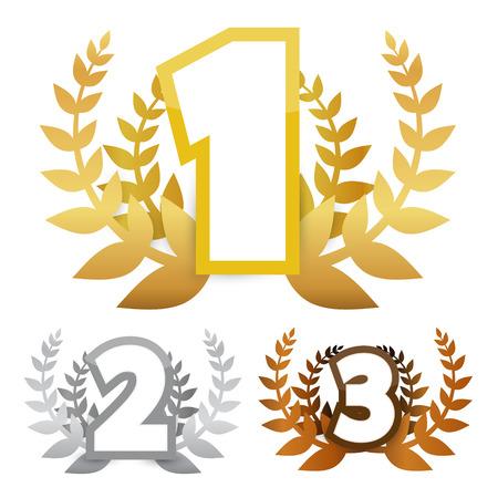 Gold - Silver and Bronze Awards Symbols  イラスト・ベクター素材