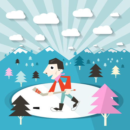 ice hockey player: Hockey Player on Ice and Nature with Trees and Mountains Winter Illustration