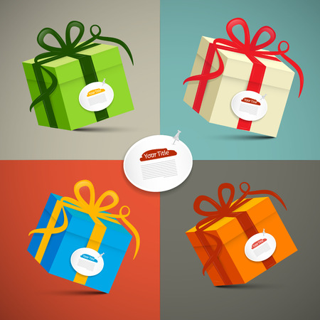 종이 복고풍 3d 선물 상자 그림 설정