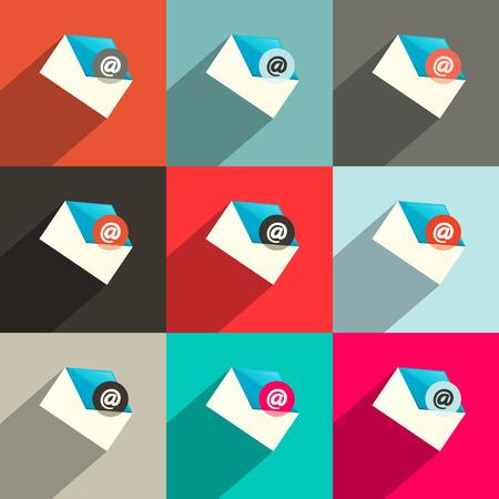 플랫 디자인 UI 이메일 아이콘 설정