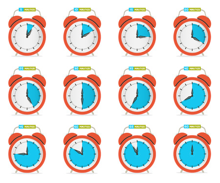part time: Alarm Clock - Time Countdown Vector Set Isolated on White