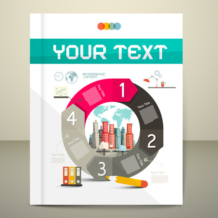 Infographics Vector Template - Layout with City on Paper Book - Brochure Cover Ilustração