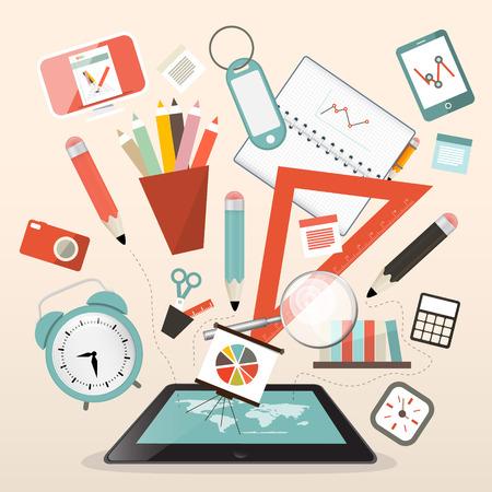 estuche: Artículos Escolares - Aprender y Estudio de la Administración Ilustración vectorial