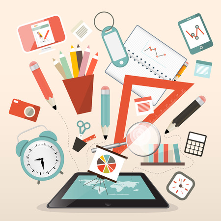 studying: School Items - Learn and Study Management Vector Illustration