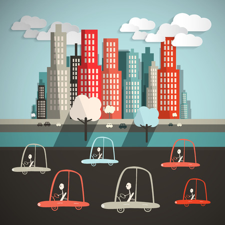 city view: Cars in City Flat Design Retro Vector Illustration Illustration