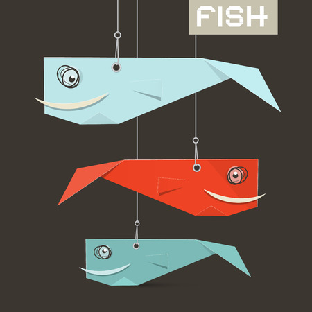 strings: Paper Vector Fish Hang on Strings Illustration