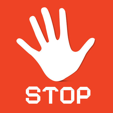 Stop Palm Hand Vector on Red Background Illustration
