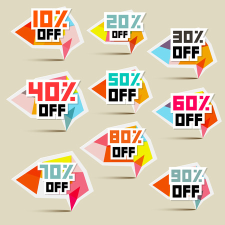 coupon sign: Vector 10% off, 20% off, 30% off, 40% off, 50% off, 60% off, 70% off, 80% off, 90% off, Stickers, Labels Illustration