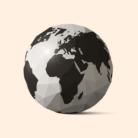 벡터 지구 - 세계 지구본 구겨진 된 종이 그림