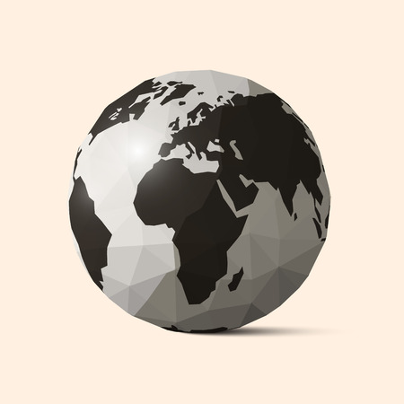 earth globe: Vector Earth - World Globe Crumpled Paper Illustration Illustration