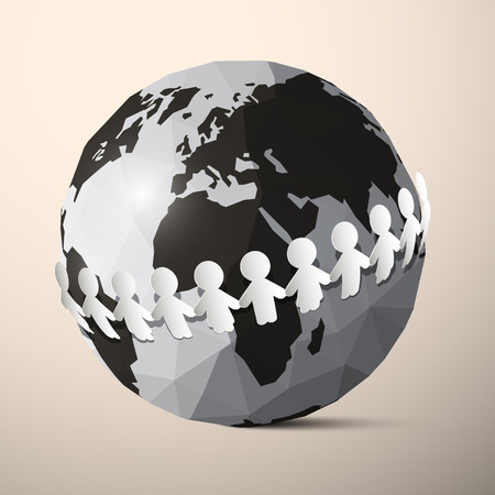 people holding hands: Paper People Holding Hands around Globe - Earth Vector