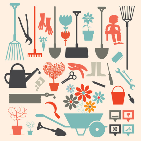 pruning: Retro Gardening Icons Set