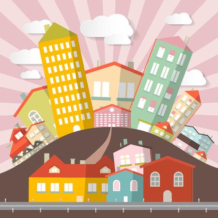 abstract city: Flat Design Retro Abstract City Illustration