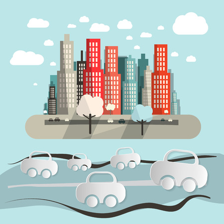 town abstract: Paper Cars in City - Town Abstract Flat Design Retro Illustration