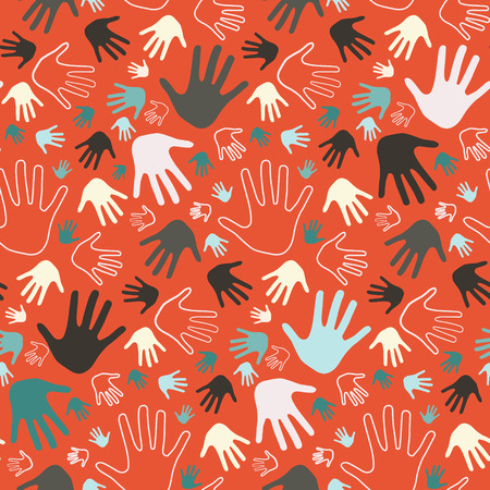 hands in the air: Seamless Palm Hands Illustration on Red Background