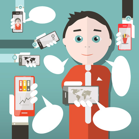 Flat Design Media Illustration with Business Man and Cell Phones Vector