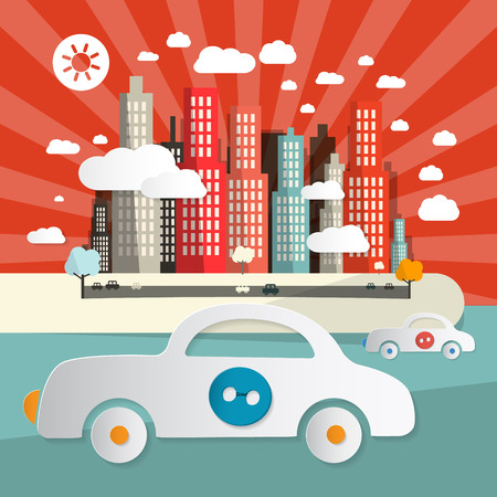 town abstract: Paper Cars in City - Town Abstract Flat Design Retro Vector Illustration Illustration
