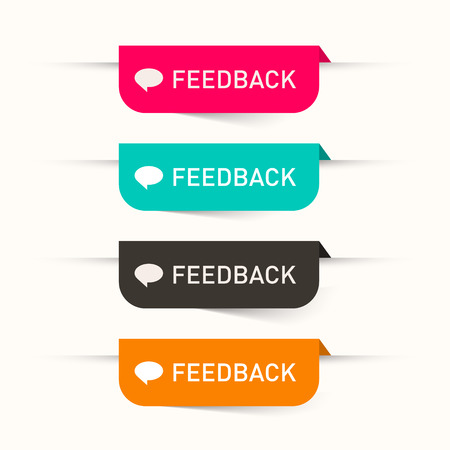 Feedback Vector Paper Labels - Stickers Set - Web Icons Vector