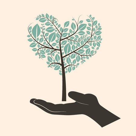 green life: Flat Design Vector Heart Shaped Abstract Green Tree in Silhouette Human Hand Illustration