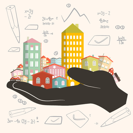housing project: Architect Building Project - Development Vector Illustration - Paper Houses in Human Hand Illustration