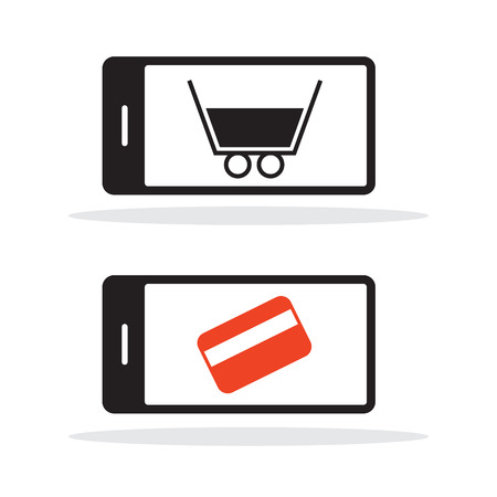 graphic display cards: Cell Phone Vector Icon with Shopping Cart and Credit Card
