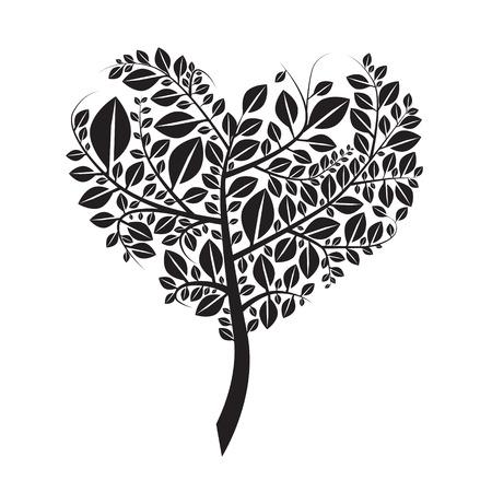 arboles blanco y negro: En forma de corazón Ilustración de la silueta del vector aislado en blanco Vectores