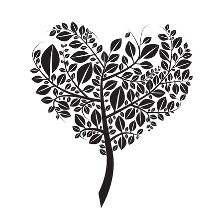 dessin noir et blanc: En forme de coeur Silhouette d'arbre Vector Illustration isolé sur blanc