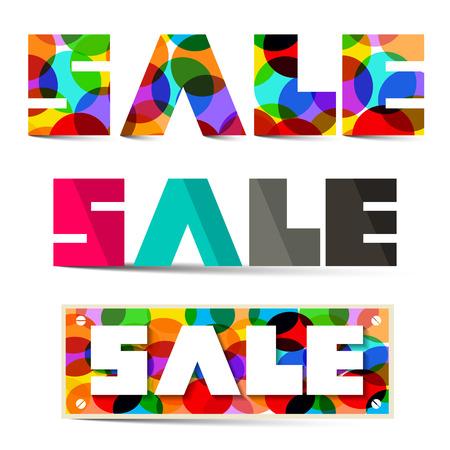 titles: Sale Colorful Vector Titles Set Illustration